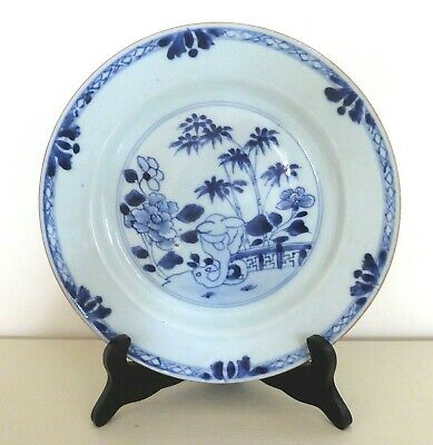 Chinese Nanking Blue And White Porcelain  Plate-Garden Scene- C 1740.