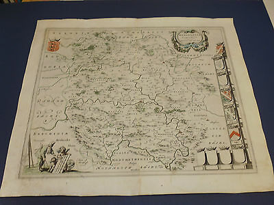 100% Original Large Herefordshire Map By J Blaeu C1648 Hand Coloured