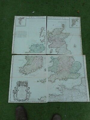 100% Original Large British Isles Scotland Maps X4 By Densos C1766 Hand Colour