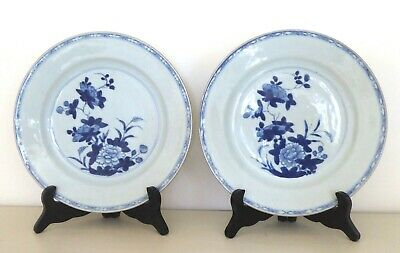 Pair Of Chinese Nanking Blue And White Porcelain Floral Plates- C 1740.