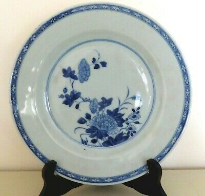 Chinese Nanking Blue And White Porcelain Floral Plate- C 1740.