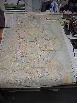 100% Original Large Lincolnshire Folding Map By Bacon C1880/S Low Post Uk