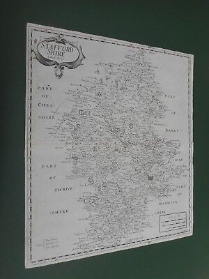 100% Original Large Staffordshire Map By Robert Morden C1695 Low Post