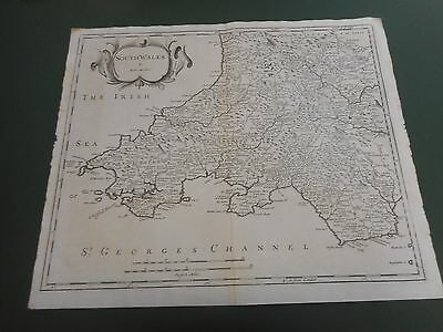 100% Original Large South Wales  Map By Robert Morden C1722 Low Post