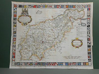 100% Original Large Northamptonshire Map By Harris C1720 Hand Coloured Scarce