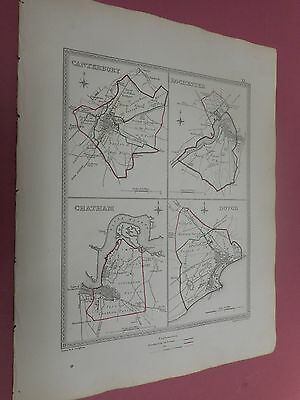 100% Original Canterbury Dover Chatham Town Plan Map By Creighton C1842 Vgc