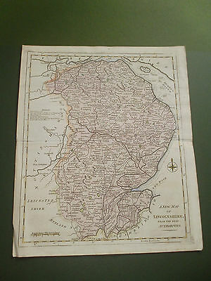 100% Original Lincolnshire  Map By J Lodge C1787 Vgc Scarce Map