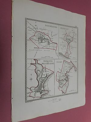 100% Original Dorchester Poole Weymouth Town Plan Map By Creighton C1842 Vgc