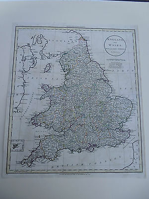 100% Original England And Wales  Map By Russell C1799 Vgc Original Colour Scarce