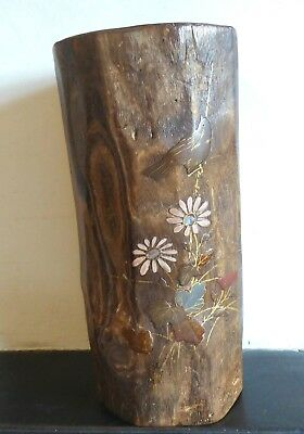 19th c Japanese bamboo brush pot with lacquered bird, flowers and foliage.