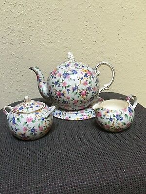 royal winton grimwades chintz teapot, sugar, creamer Old Cottage floral antique