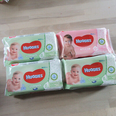 4 X Huggies - Natural Care + Soft Skin Baby Wipes - 4 x 56 Wipes.