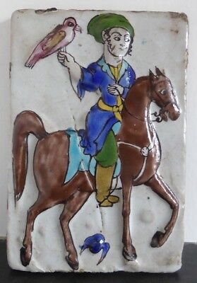 Genuine 19thC Persian Qajar hand painted tile-Falconer on horse.