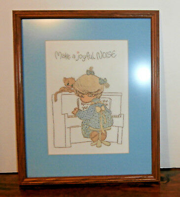 "Make a Joyful Noise Finished Framed Embroidery 12"" x 15"" Precious Moments"