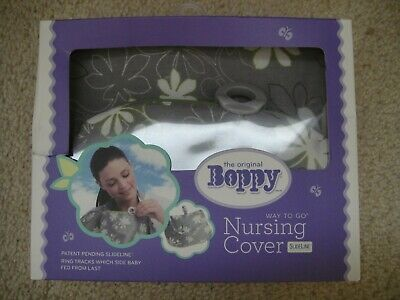 NEW Boppy Nursing Cover Up Slideline Ring Tracker Lupine Gray Floral Pouch