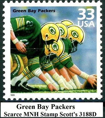 GREEN BAY PACKERS Scarce Mint MNH US Postage Stamp Scott's 3188D