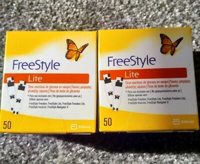 100 FreeStyle Lite testing strips 2 x 50 Strips Exp 11/2020 BRAND NEW SEALED