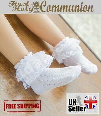 Flower Girls Frill Socks 1st First Holy Communion Wedding Confirmation Pageant