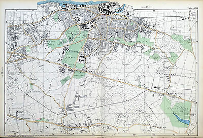 Original Antique Map of LONDON, WOOLWICH, PLUMSTEAD, ELTHAM, WELLING, Bacon,1904