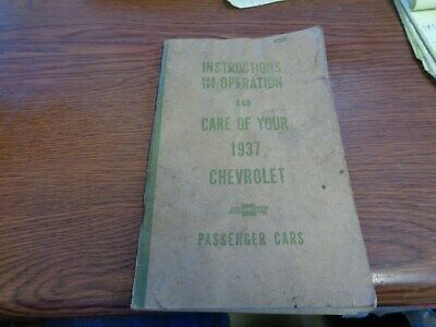 1937 Chevy  Owners Manual, operators guide, reference guide, with patina
