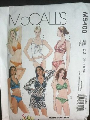 a60b394e379 Bikini Two Peice Swimsuit Cover up Misses size 12-18 McCalls 5400 Sewing  Pattern