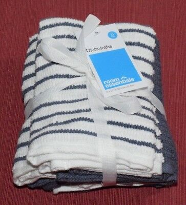 Room Essentials Stripe Dishcloth Dish Towel- Blue (6 Pack) Lot of 19 (114 Total)