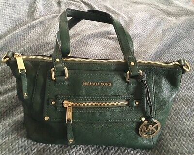 6b78f960bfd21a MICHAEL KORS HUNTER Green Leather Convertible Tote Bag Purse-NICE ...