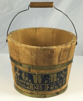 AAFA Antique Primitive Country Miniature Mini Wood Wooden Handled Bucket Pail