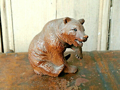 Old Vintage Antique Carved Wooden Black Forest Bear Linden Wood Swiss C. 1900