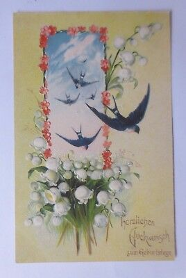 """"""" Birthday, Bird, Swallows, Lily of the Valley """" 1907 (56042)"""
