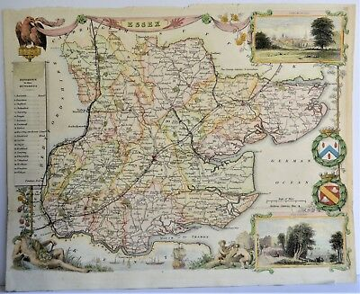 Antique Original Map Essex England  By Thomas Moule 1836 Hand Colored