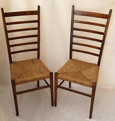 Vintage Pair of Italian Ladder Back Chairs with Woven Seats Marked