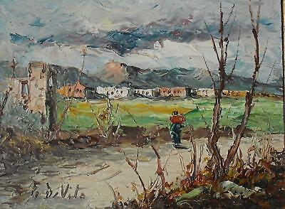 Charming Landscape Village in the Mountains Oil Painting Indstly F di Vito 1980s