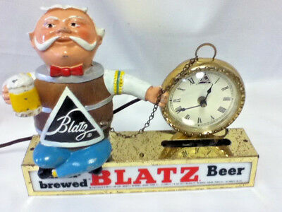 Blatz beer sign lighted bar clock metal topper light pocket watch barrel guy MQ7