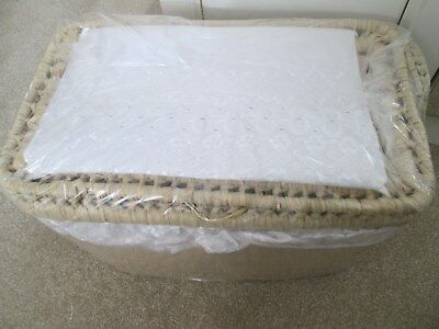 Brand New Wicker Layette Basket With  White Broiderie Anglaise Trim
