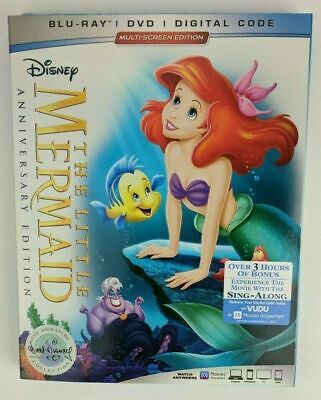 ✔Sealed Disney The Little Mermaid Anniversary Signature Ed (Blu-ray+DVD+Digital)