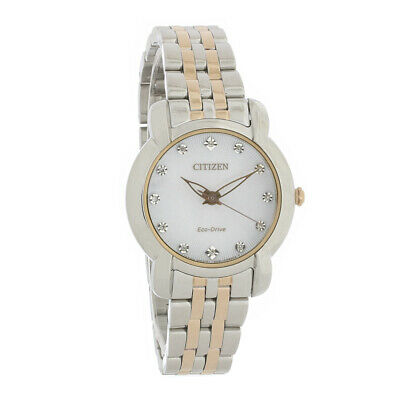 Citizen Eco-Drive Jolie Ladies Diamond Two Tone Stainless Steel Watch EM0716-58A