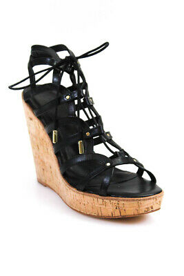 8e275f376264 Joie Womens Leather Platform Strappy Wedge Slingbacks Sandals Black Size 39  9