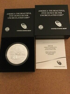 2014-P Great Smoky Mountains-US Mint-America The Beautiful-5 Oz Silver Coin wCOA