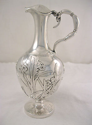 Antique Wang Hing Chinese Export Silver Floral & Bird Ewer Pitcher Circa 1890