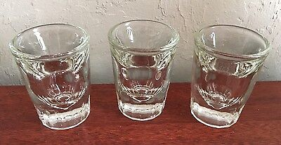 VTG Tall Shot Glasses Wide Thick Heavy Clear Whiskey Glass Bar Pub Set of 3