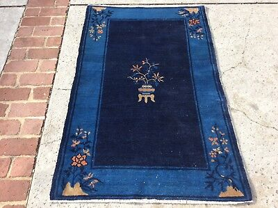 "Antique Peking Chinese Oriental Rug Handknotted Circa 1920 4' 8"" X 3'"