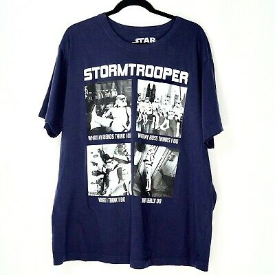b12eb357fb Star Wars Stormtroopers Mens Size XXL Extra Large T Shirt S/S Navy White  Funny