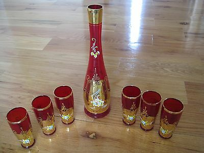 Hand Painted Czech Red Glass & Gold Decanter and Glass Set