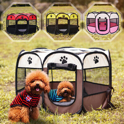 Folding Pet Playpen Puppy Dog Cat Play Pen Crate Cage Enclosure Tent Kennels S