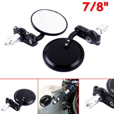 "3"" Inch Motorcycle 22Mm 7/8"" Bar End Round Side Mirrors Motorbike Bike Pair"