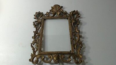 VTG Antique Cast Iron & Gold Gilt Ornate Rococo Style Picture Frame 12""