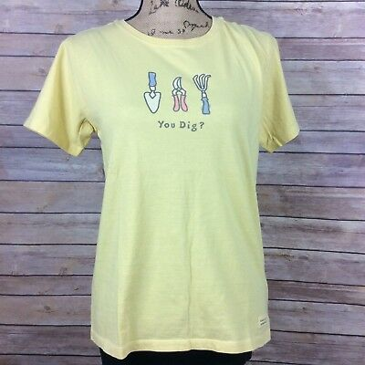 3e0294b9 Life Is Good Womens Size Small Yellow T-shirt With Gardening Tools You Dig?