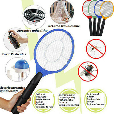 AU Electric Bug Zapper Racket Mosquito Fly Swatter Killer Insects Bat Handheld