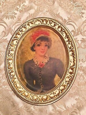 Beautiful Art Deco Lady in Hat Framed Picture Wall Art Print
